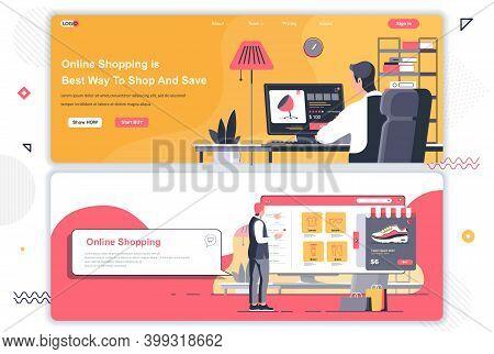 Online Shopping Landing Pages Set. Internet Marketplace, Store Platform Corporate Website. Flat Vect