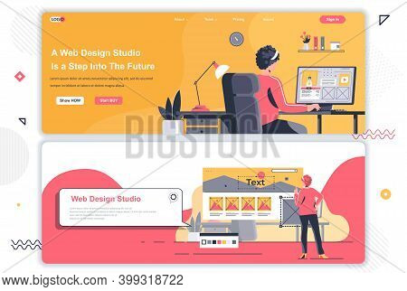 Web Design Studio Landing Pages Set. Creative Website Design, Prototyping And Usability. Flat Vector