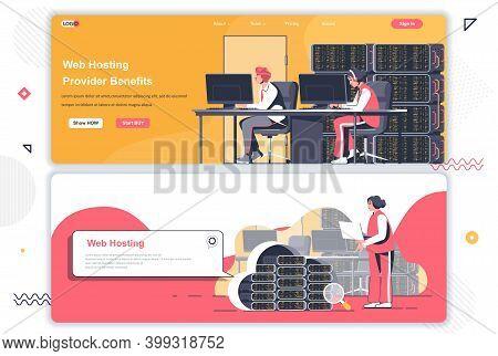 Web Hosting Provider Landing Pages Set. Data Center, Cloud Storage Service Corporate Website. Flat V