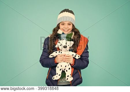 Her Favourite Toy. Happy Child Hold Soft Toy Blue Background. Little Girl Smile With Toy Dog. Kids T