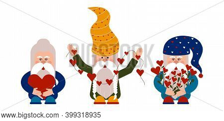 Colored Dwarfs With Hearts Are Preparing For The Valentines Day. Cute Celebration Gift Card. Gnomes
