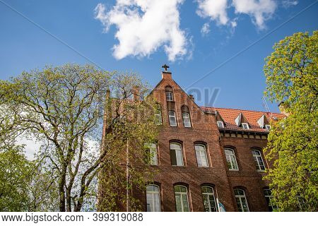 Beautiful Architecture And Blue Sky In Erfurt, Germany. Senior Home, Hospital
