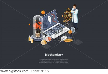 Biochemistry Illustration. Isometric Vector Composition In Cartoon 3d Style With Scientific Items An