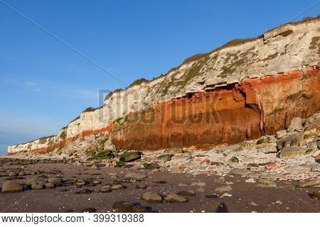 Hunstanton Cliffs In North Norfolk Viewed From The Beach. March 2017. These Eroding Cliffs Expose A
