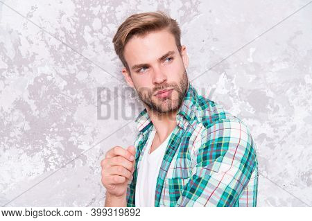 Hairdresser Salon. Barber Concept. Caucasian Male Model With Unshaven Handsome Face And Stylish Hair