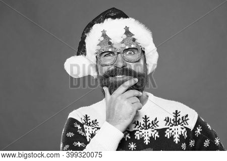 Solution Concept. Inspired Face. Happy Bearded Man With Santa Look. Holiday Accessories Santa Party.