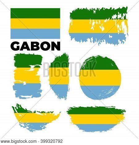 Gabon Vector Watercolor National Country Flag Icon.