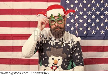 New Year Tradition In America. Bearded Man On American Flag. Celebrate Xmas And New Year In Patrioti
