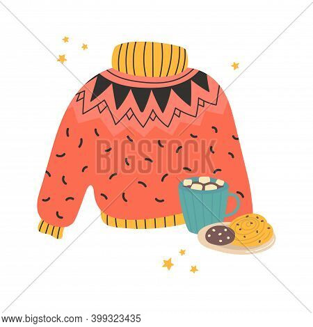 Cozy Sweater With A Cup Of Cocoa Or Coffee For Postcard. Poster With Home Winter Attributes. Templat