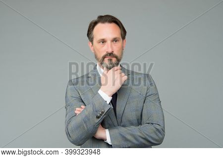 Confident Manager. Mature Businessman In Formal Suit. Successful Bank Employee. Live Who You Are. Bo