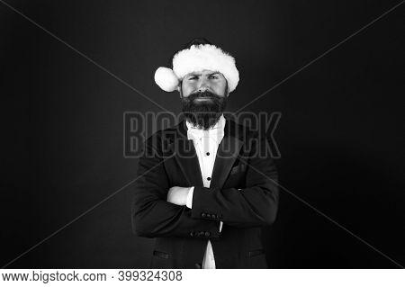 Man Bearded Hipster Wear Santa Hat. Christmas Spirit Concept. Financial Report. Manager Ready Celebr