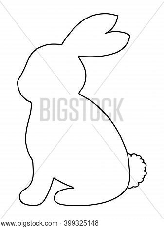 Bunny Or Rabbit Silhouette In Black Outline. Vector Illustration Isolated. Easter Bunny. Clip Art El