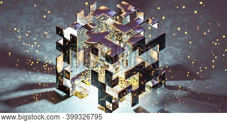 Abstract Metal Steel Cube Exploding With Glowing Particles 3d Render Illustration