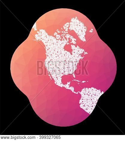 World Network Map. Modified Stereographic Projection For The Conterminous United States. Wired Globe