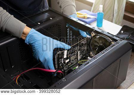 Repairman Repairing Computer, Computer Maintenance, Copy Space.