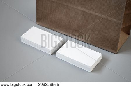Business Card Mock Up, Business Card And Paper Bag, Identity Set Mock-up, Photo Mock Up, Template Fo