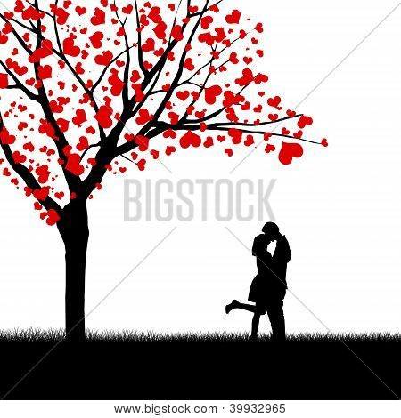 Heart Leaves And Kissing Couple