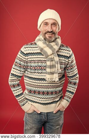 Winter Sweater. Knitted Accessories. Winter Weather Style. Menswear Concept. Winter Collection. Warm
