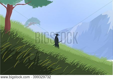 The Samurai Is Coming Down The Hill. Beautiful Landscape Of Hill, Mountains, And Trees. Warrior Walk