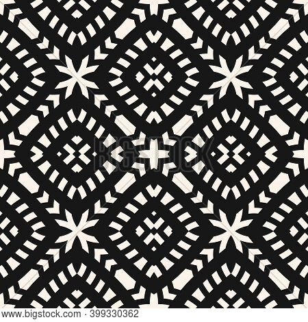 Vector Geometric Seamless Pattern. Abstract Black And White Ethnic Texture With Ornamental Grid, Mes