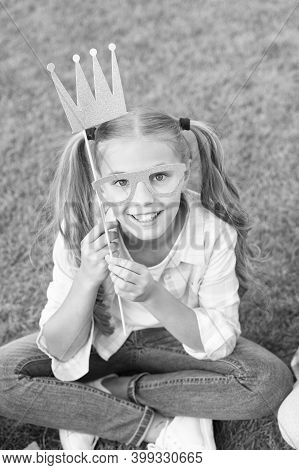 Because Your Worth It. Happy Girl Wear Prop Crown And Glasses. Big Boss. Beauty Queen Crown. Party C