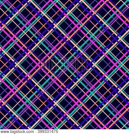 Vector Seamless Pattern With Diagonal Cross Lines, Stripes, Square Grid, Lattice. Simple Tartan Plai