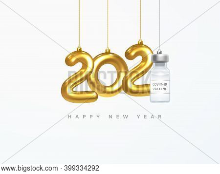 2021 New Year Card. Design Of Christmas Decorations Hanging On A Gold Chain Gold Number 2021 And Cov