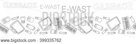 Black And White Outline Seamless Vector Border With Sorted E-waste Garbage Isolated On White. Collec