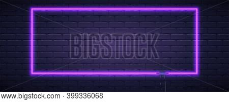 Brick Wall Lit By Neon Lamp Of Violet Color. Neon Lamp In The Shape Of Rectangle. Vector Template, 3