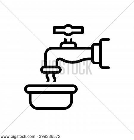 Black Line Icon For Pour Regurgitate Flow Effuse Pour-out Faucet Water Tap Waste-water