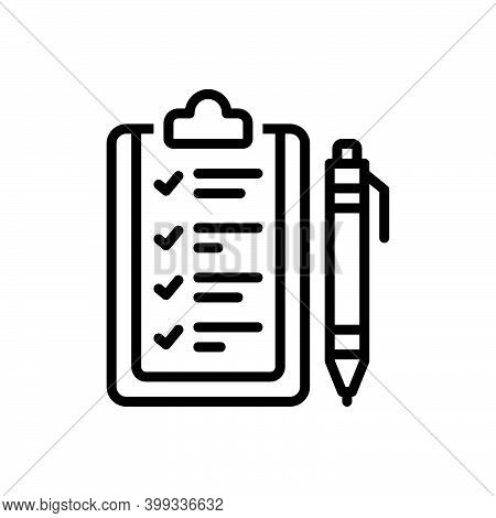Black Line Icon For Rule Ordinance Guideline Prescript Method Guideline Concept Regulation Authority