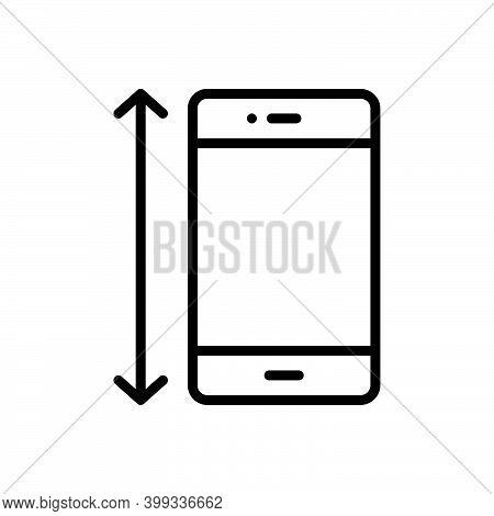 Black Line Icon For Size Dimensions Measurement Shape Figure Screen Phone Gadget Electronic