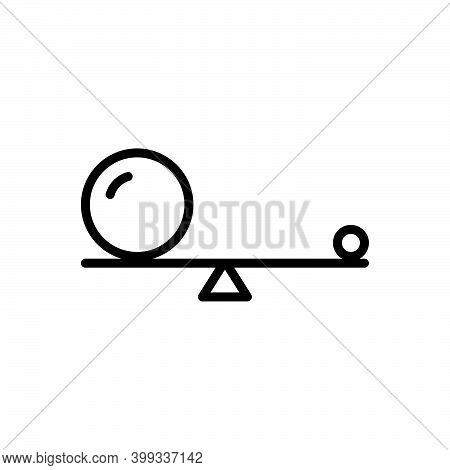 Black Line Icon For Small Little Small-scale Mini Minor Balance Ball  Equilibrium