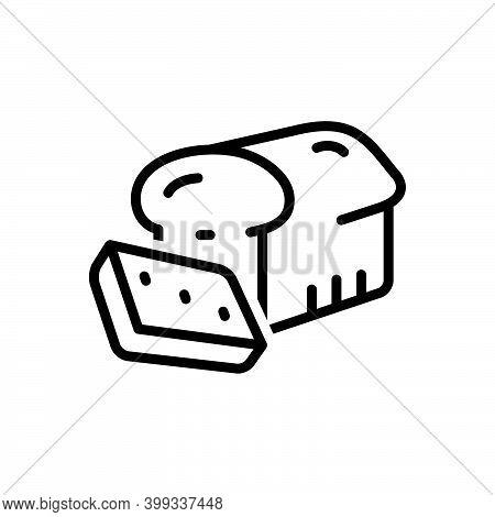 Black Line Icon For Slice Piece Bread Editable Portion