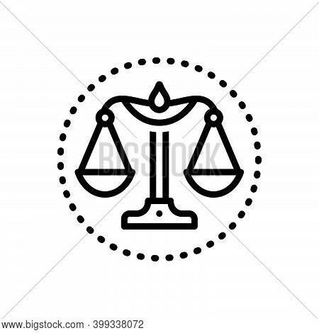 Black Line Icon For Integrity Honesty Probity Honor Justice Magistrate Balance Equilibrium