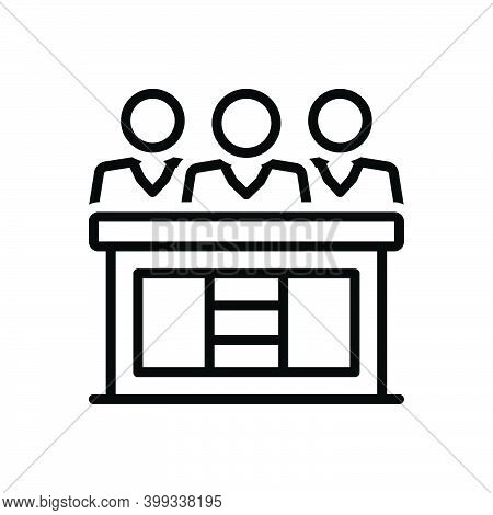 Black Line Icon For Hearings Audition Proceedings Meeting Jury Adjudicator