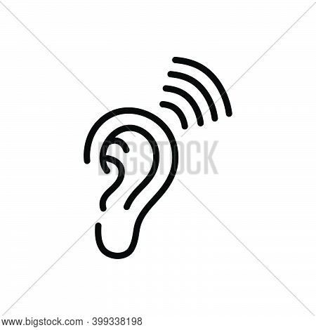 Black Line Icon For Heard Listened Frequent Ear Frequency Sound Hearing
