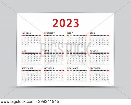2023 Yearly Calendar - 12 Months Yearly Calendar Set In 2023, Planner, Vector Illustration