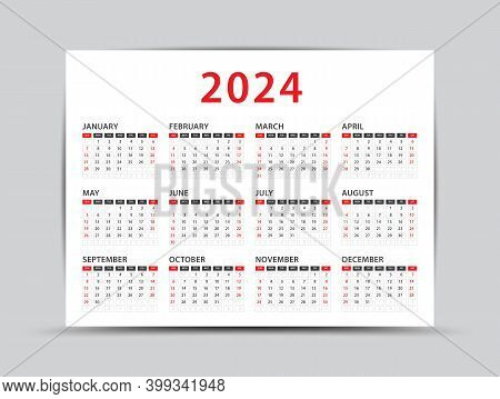 2024 Yearly Calendar - 12 Months Yearly Calendar Set In 2024, Planner, Vector Illustration