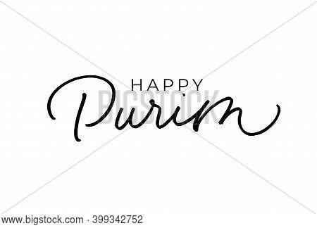 Happy Purim Hand Drawn Vector Line Calligraphy.