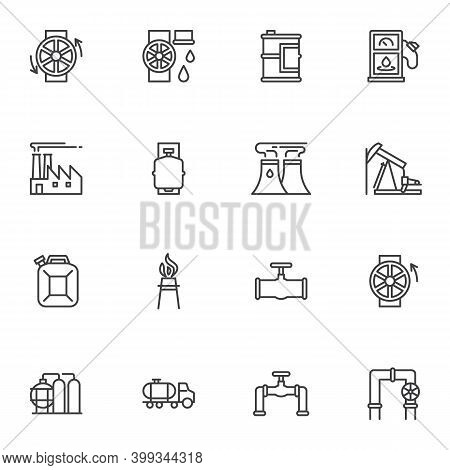 Oil Industry Line Icons Set, Outline Vector Symbol Collection, Linear Style Pictogram Pack. Signs, L