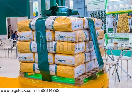 Moscow, Russia - June 05, 2019: Agriculture Exhibition. Bags Installation With Concentrates, Premixe