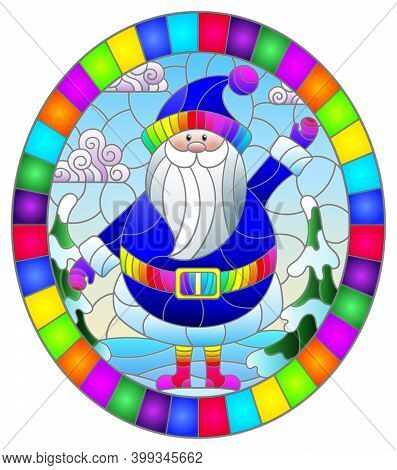 Illustration In Stained Glass Style With A Cartoon Santa Claus In A Red Suit On The Background Of Ch