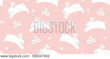 Easter Pattern Banner. Springtime Holiday Seamless Repeat Border Of Leaping Bunny And Flowers, Vecto