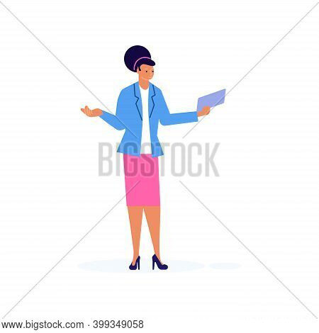 Puzzled Businesswoman Throws Up Her Hands In Disbelief Vector Illustration. Perplexed Girl Showing D