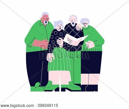 Elderly People Choral Singing From Song Book Together Vector Illustration. Seniors Couples Have Musi