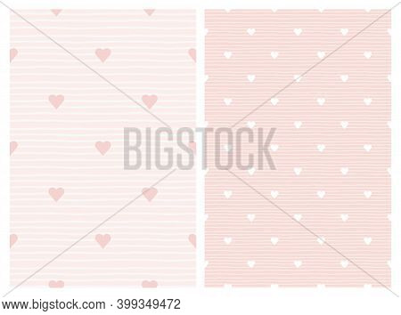 Delicate Seamless Pattern For Baby Shower Or Girl Nursery Bedroom With White And Pink Hearts. Pale S