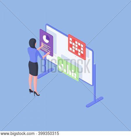 Female Employee Analyzing Various Data On Whiteboard