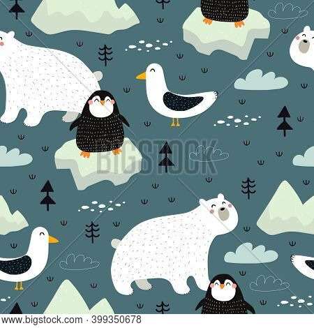 Seamless Pattern With Arctic And Antarctic Animals, Decor Elements. Colorful Vector Flat For Kids. H