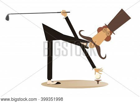 Cartoon Long Mustache Plays Golf Illustration. Funny Long Mustache Man In The Top Hat Holds A Golf C
